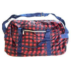 FOLDING Duffel Bag Tri-Coastal Design Red Plaid